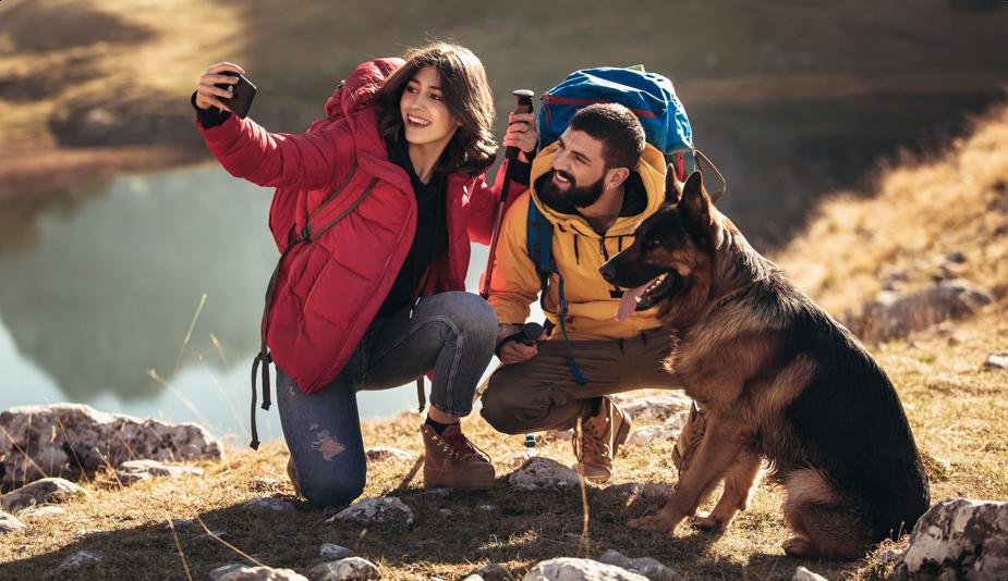 Couple Camping Selfie with German Shepard