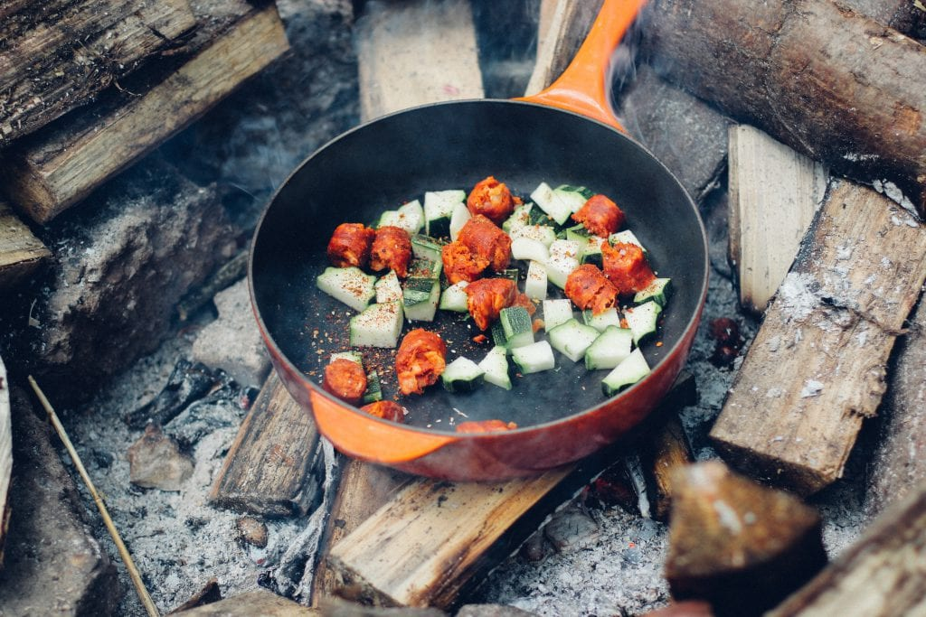 campfire meal meat and veggies